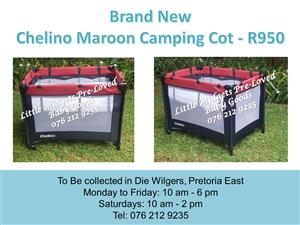 Brand New Chelino Maroon Camping Cot (Mattress available at R350 extra)