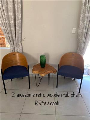 2 Retro wooden tub chairs