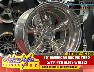 15 inch American racing torq vn515  wheel 5-114 10j wide et minus 44 center bore 83.6 R22500  American Racing the brand that started it all.