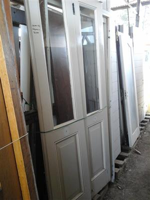 White double wood doors.