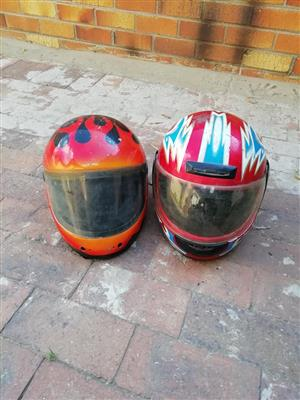2 Red helmets for sale