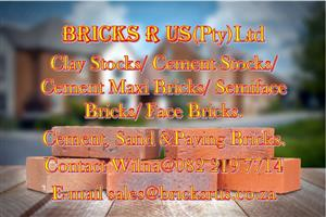 Bricks R Us Sand, Cement, Paving Bricks, Face Bricks, Clay Stocks, Cement Maxis and more