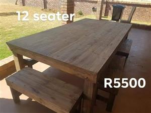 12 Seater light wooden patio set
