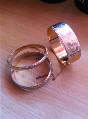 9ct Gold Metal Core Vintage Bangles for SALE