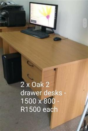 2x Oak drawer desks.