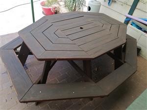 8 Seater wooden garden table