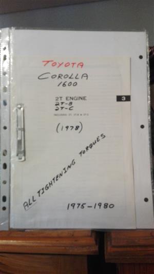 Corolla 1600, 1975 / 80: all tightening torques