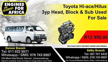 Toyota Hi-ace/Hilux 3yp Head, Block & Sub Used For Sale.