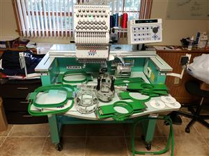 Single head 15 threads embroidery machine in very good condition.