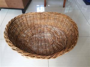 Large Cane Pet basket for cat or dog or puppies