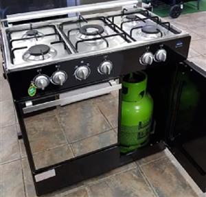DELTA 5 BURNER GAS STOVE WITH GAS OVEN, TOP AND BOTTOM GRILLS PLUS CABINET