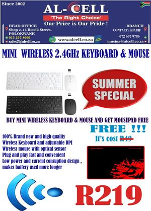 Mini Wireless 2.4 Ghz Keyboard & Mouse and Get Mouse pad Free