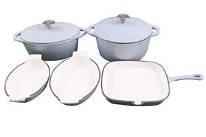 La Fermete 7 Piece Cast Iron Enamel Cookware Pot Set