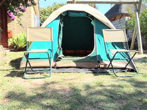 Canvas tents and camp gear equipment for hire