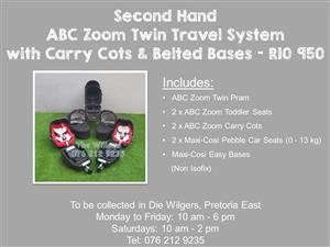 Second Hand  ABC Zoom Twin Travel System with Carry Cots & Belted Bases