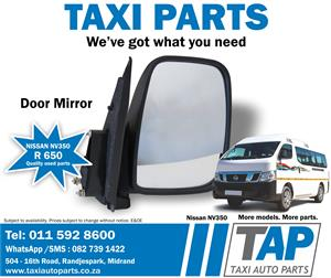 Nissan NV350 DOOR MIRROR quality used taxi spares - Taxi Auto Parts - TAP