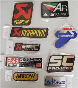 Heat resistant aluminium motorcycle exhaust plate decals / metal stickers / badges