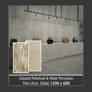 Tile : Glazed & Matt (Assorted Slab - 1200 x 600)