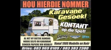 Kontant vir jou Jurgens,Sprite en Gypsey karavaan vanaf 1980/90/2000 modelle