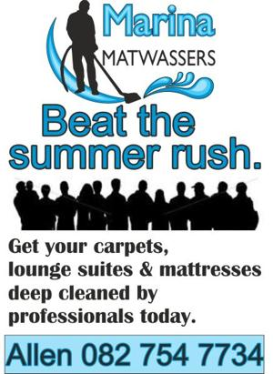 Steam cleaning of carpets, lounge suits and mattresses.