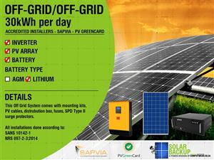 Off-Grid / Hybrid ( 30 kWh Per Day ) – Fully Installed ON SPECIAL