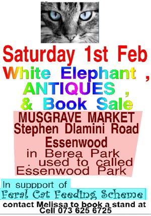 Large Antique and Books Sale 1st Feb Musgrave Market at Feral Cat Feeding Stand
