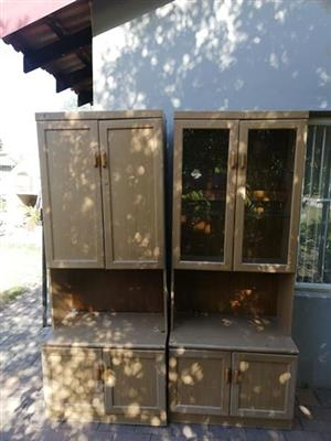 2 Wooden display cabinets