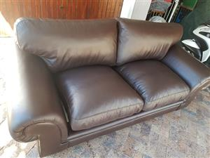 Like new CORICRAFT 3 Seater Afrique Full Dark Brown leather couch 2.3 meters for sale.