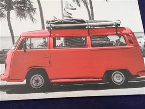 Retro Cool Kombi and boat canvas poster on wood frame - sold as a pair