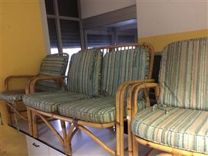 3 Piece Cane Lounge Suite with Cushions