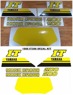 1986 Yamaha IT 200 decals stickers graphics sets.