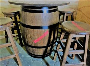 Wine Barrel with table top and chair combo - Personalized