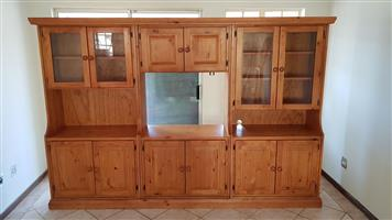 Solid wood Oregon pine wall unit