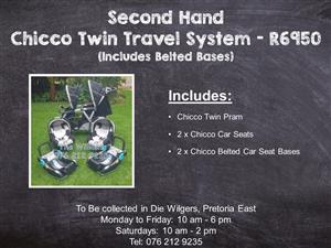 Second Hand Chicco Twin Travel System (Includes Belted Bases)