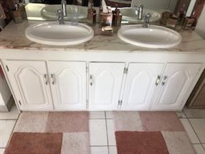 BATHROOM MARBLE TOPS WITH SUNKEN BASINS FOR TWO BATHROOMS