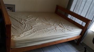 Pinewood double bed with matress