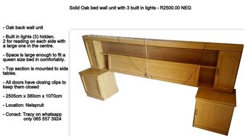 Solid oak bed wall unit with 3 built in lights