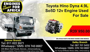 Toyota Hino Dyna 4.9L So5D 12v Engine Used For Sale.