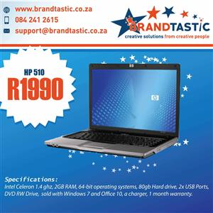 HP 510 Laptop & Charger @ only R1990