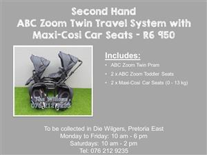 Second Hand ABC Zoom Twin Travel System with  Maxi-Cosi Car Seats