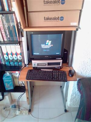 "Compaq Desktop PC Complete. Windows XP Professional. 14""Monitor, DVD Rom,  Floppy, Keyboard, Mouse. 37GB Memory. Speakers optional for R199. Computer Desk Optional at R650."