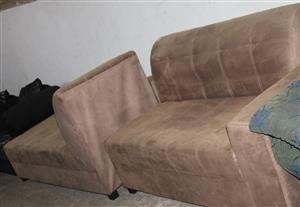 Brown L-shape couch S033428A #Rosettenvillepawnshop