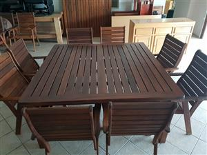 Wooden table 8 chairs