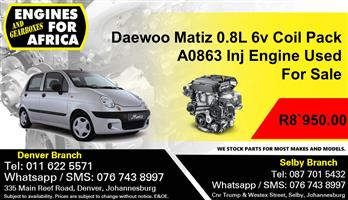 Daewoo Matiz 0.8L A0863 6V Coil Pack Inj Engine Used For Sale