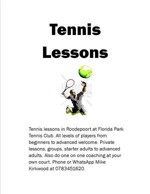 Tennis Coaching at Florida Park