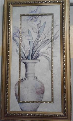 Golden framed flower pot sketch