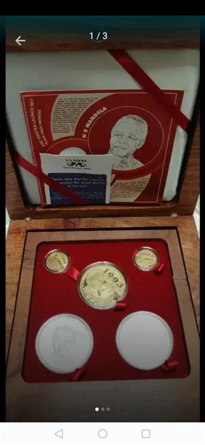 2007 Mandela de Klerk Launch Peace Proof Protea Set Plus authentic copy of Mandela's Warrant of Arrest for sale  Kimberley