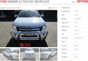 2015 Ford Ranger double cab RANGER 2.2TDCi XLT P/U D/C