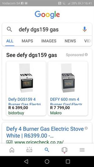 Defy gas electric 4 BURNER STOVE AND OVEN