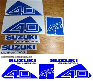 Suzuki DT 40 outboard motor cowl decals stickers vinyl graphics kits